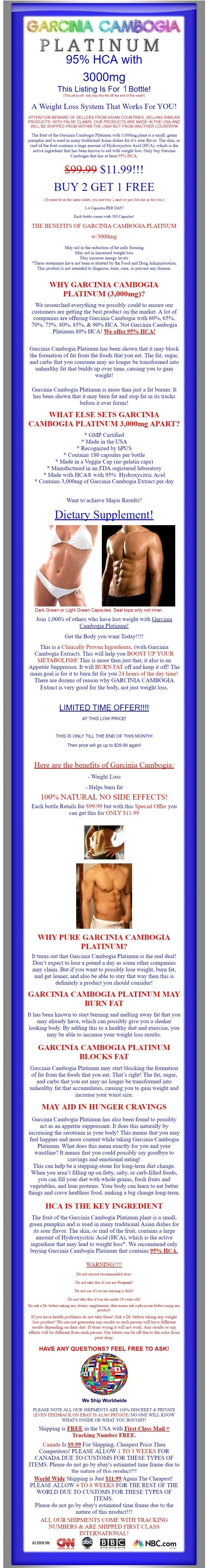 100% PURE 180 Capsules 3000mg Daily GARCINIA CAMBOGIA 95% HCA Weight Loss Diet